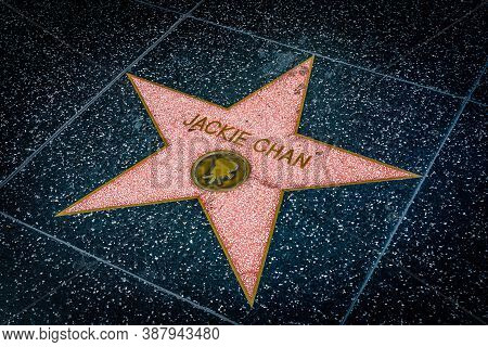 Hollywood, California - October 09 2019: Celebrity Actor Jackie Chan Walk Of Fame Star On Hollywood