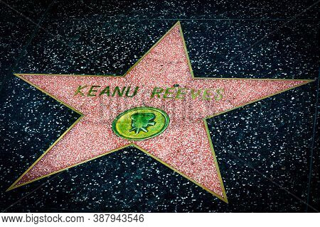 Hollywood, California - October 09 2019: Celebrity Actor Keanu Reeves Walk Of Fame Star On Hollywood