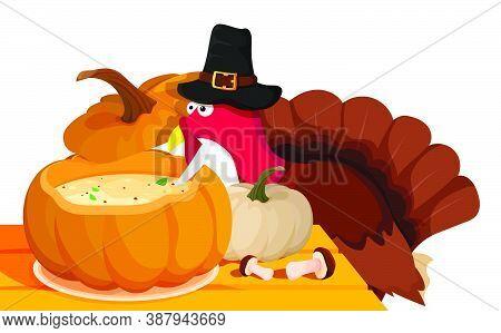 Pumpkin Cream Soup. Sly, Wary Turkey Hid Over Pumpkin Soup On Festive Table At Animal Farm. Turkey I