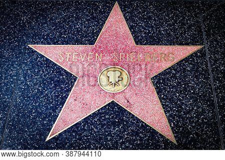 Hollywood, California - October 09 2019: Celebrity Steven Spielberg Walk Of Fame Star On Hollywood B