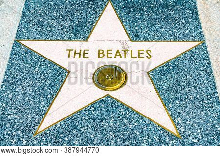 Hollywood, California - October 09 2019: Famous Celebrity Group Beatles Walk Of Fame Star On Hollywo