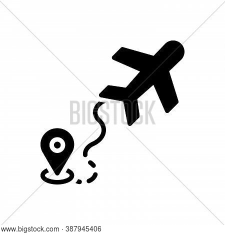 Black Solid Icon For Airline Airway Skyway Tour Journey Airline Air-highway Navigation Map Air-route