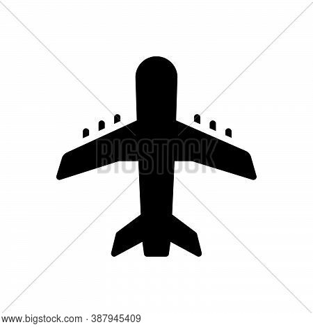 Black Solid Icon For Airline Jet Airliner Airway Tour Journey Skyway Aircraft Airplane Fight Fly Tra