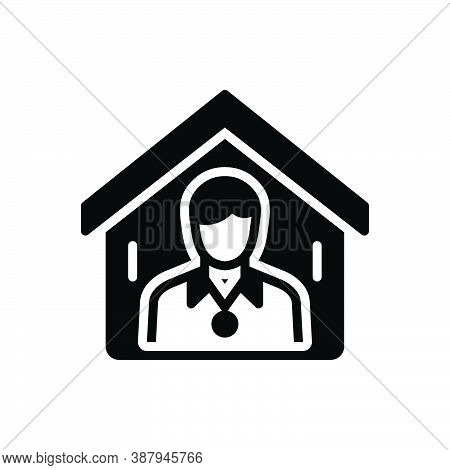 Black Solid Icon For Shelter Resort Protect Property Homes Residences Buildings Residential Man Real