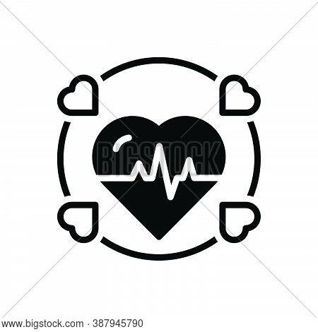 Black Solid Icon For Alive Cardiogram Ecg Healthy Beat Cardio Heartbeat Diagnose