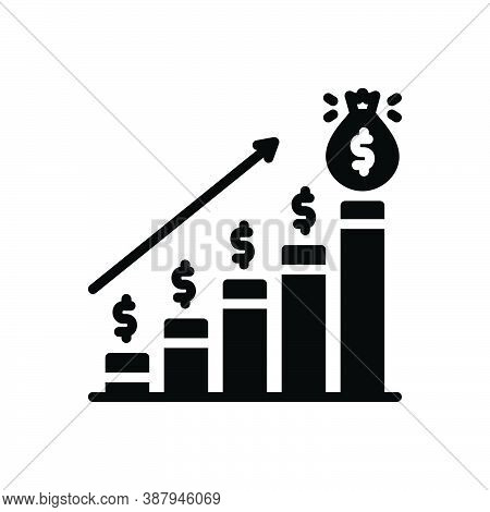 Black Solid Icon For Profit Analytics Banking Economy Financial Moneybag Market Progress Increase In