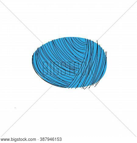 Yarn Ball Merino Wool In Cartoon Style.