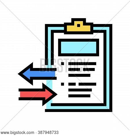 Import And Export Document Color Icon Vector. Import And Export Document Sign. Isolated Symbol Illus