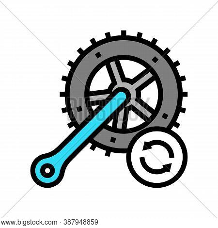 Bicycle Connecting Rods Replacement Color Icon Vector. Bicycle Connecting Rods Replacement Sign. Iso