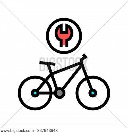 Complex Bike Repair Color Icon Vector. Complex Bike Repair Sign. Isolated Symbol Illustration