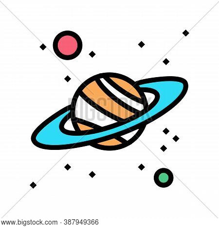 Saturn Planet Color Icon Vector. Saturn Planet Sign. Isolated Symbol Illustration