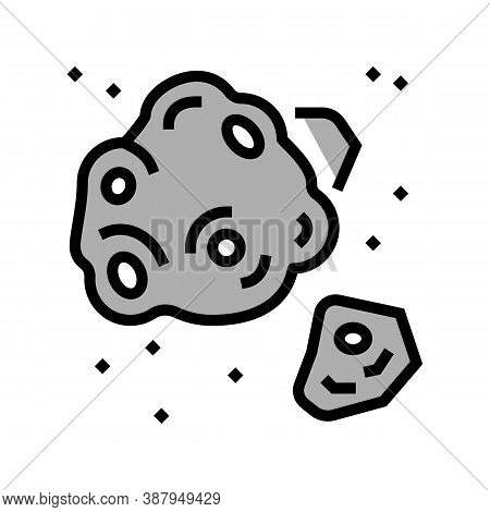 Meteor Asteroid Color Icon Vector. Meteor Asteroid Sign. Isolated Symbol Illustration