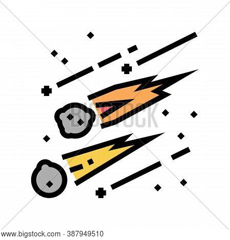 Falling Meteors Color Icon Vector. Falling Meteors Sign. Isolated Symbol Illustration