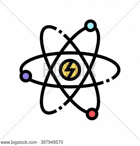 Atom Nuclear Energy Color Icon Vector. Atom Nuclear Energy Sign. Isolated Symbol Illustration