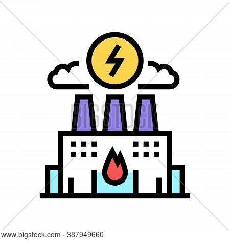 Energy Factory Color Icon Vector. Energy Factory Sign. Isolated Symbol Illustration