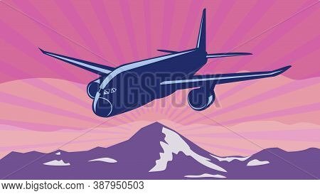 Retro Wpa Illustration Of A Jumbo Jet Plane Or Airliner Flying Over Mountain Tops Done In Works Proj