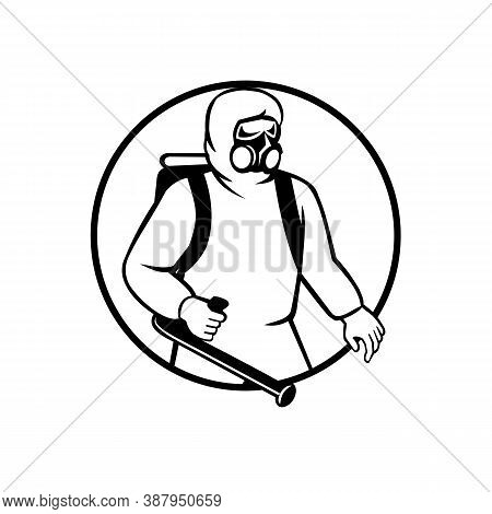 Black And White Illustration Of An Industrial Worker, Healthcare, Essential Or Pest Exterminator Wea