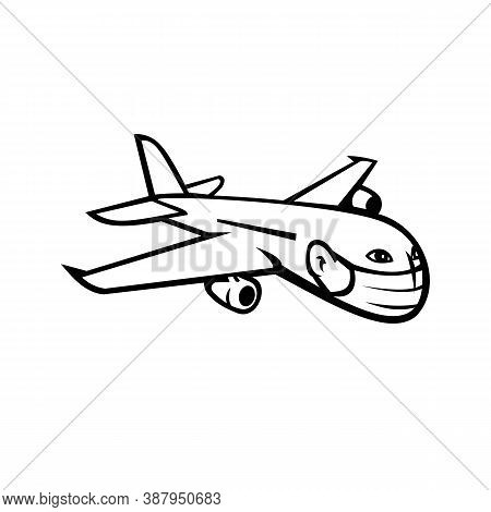 Black And White Mascot Illustration Of A Wide-body Commercial Jet Airliner And Cargo Aircraft Flying