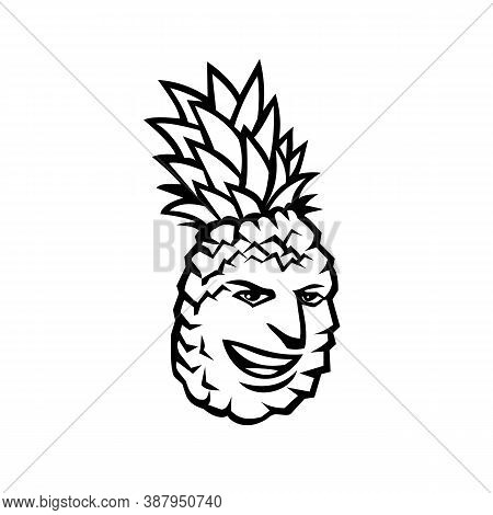 Mascot Illustration Of A Pineapple Fruit Or Ananas Comosus, A Tropical Plant With Edible Fruit In Fa