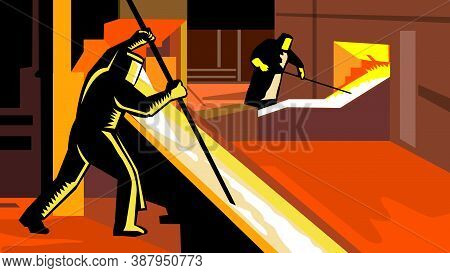 Retro Wpa Illustration Of A Foundry Or Smelter Worker Working In Smelting Plant Factory Done In Work