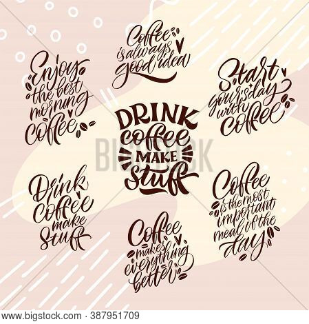 Collection Of Hand Drawn Lettering About Quarantine Coffee. Handwritten Lettering Design Elements Fo