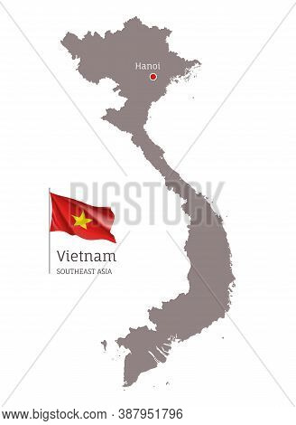 Silhouette Of Vietnam Country Map. Highly Detailed Gray Map And National Flag And Hanoi Capital, Sou