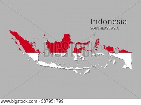Map Of Indonesia With National Flag. Highly Detailed Editable Mapindonesia Of Indonesia, Southeast A