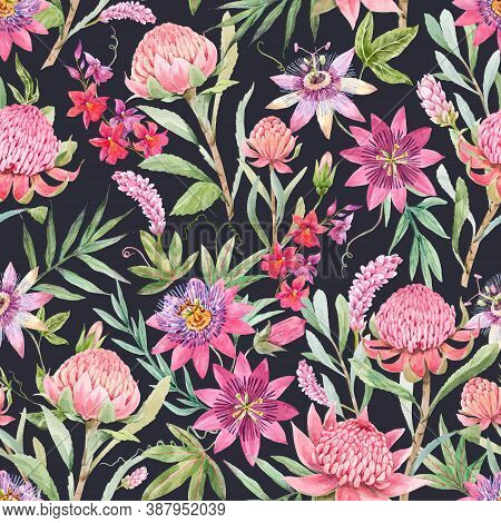Beautiful Vector Seamless Floral Pattern With Watercolor Summer Passionflower And Waratah Protea Flo