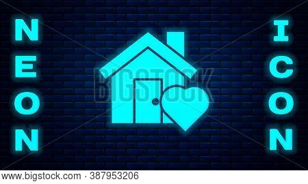 Glowing Neon House With Heart Shape Icon Isolated On Brick Wall Background. Love Home Symbol. Family