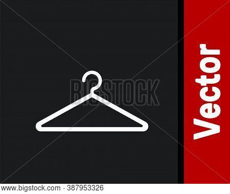 White Hanger Wardrobe Icon Isolated On Black Background. Cloakroom Icon. Clothes Service Symbol. Lau
