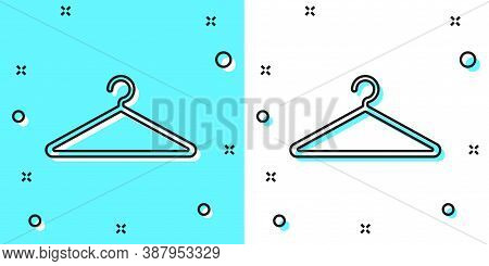 Black Line Hanger Wardrobe Icon Isolated On Green And White Background. Cloakroom Icon. Clothes Serv