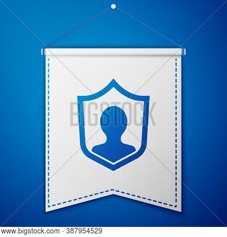 Blue User Protection Icon Isolated On Blue Background. Secure User Login, Password Protected, Person