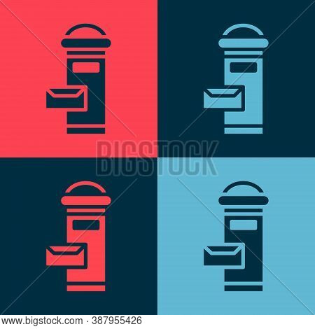 Pop Art Traditional London Mail Box Icon Isolated On Color Background. England Mailbox Icon. Mail Po