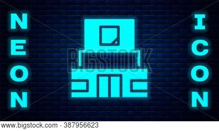 Glowing Neon Mausoleum Of Lenin Icon Isolated On Brick Wall Background. Russia Architecture Landmark