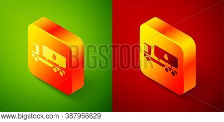 Isometric Tanker Truck Icon Isolated On Green And Red Background. Petroleum Tanker, Petrol Truck, Ci