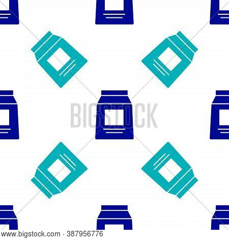 Blue Sports Nutrition Bodybuilding Proteine Power Drink And Food Icon Isolated Seamless Pattern On W