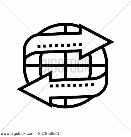 Import And Export Worldwide Service Line Icon Vector. Import And Export Worldwide Service Sign. Isol