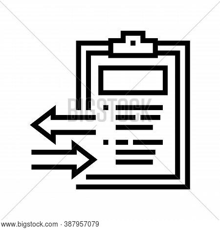 Import And Export Document Line Icon Vector. Import And Export Document Sign. Isolated Contour Symbo