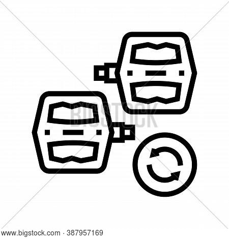 Pedals Replacement Line Icon Vector. Pedals Replacement Sign. Isolated Contour Symbol Black Illustra