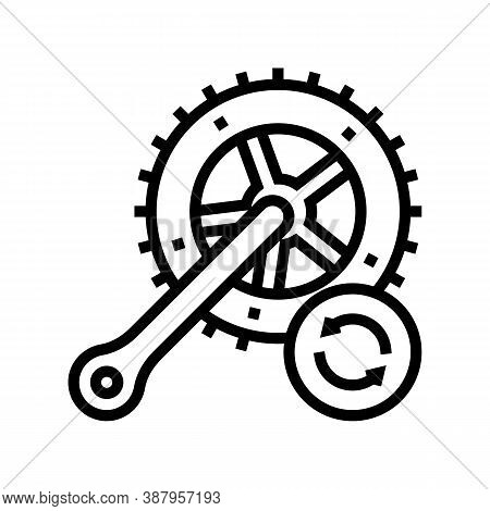 Bicycle Connecting Rods Replacement Line Icon Vector. Bicycle Connecting Rods Replacement Sign. Isol