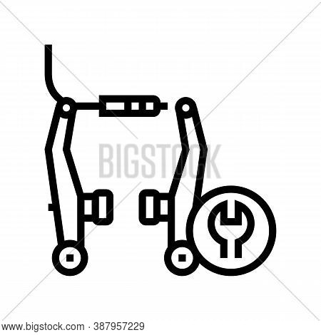 Bicycle Brake Pads Cleaning And Adjustment Line Icon Vector. Bicycle Brake Pads Cleaning And Adjustm