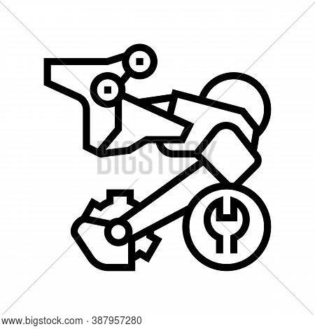 Rear Switch Repair Line Icon Vector. Rear Switch Repair Sign. Isolated Contour Symbol Black Illustra