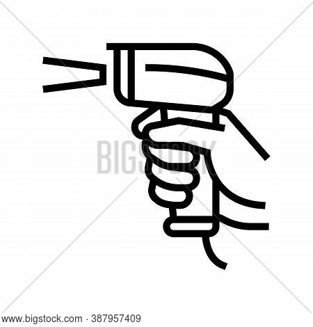 Barcode Scanner Line Icon Vector. Barcode Scanner Sign. Isolated Contour Symbol Black Illustration
