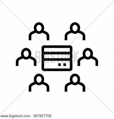 People Communicate Throguh Server Line Icon Vector. People Communicate Throguh Server Sign. Isolated