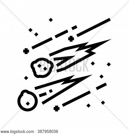 Falling Meteors Line Icon Vector. Falling Meteors Sign. Isolated Contour Symbol Black Illustration