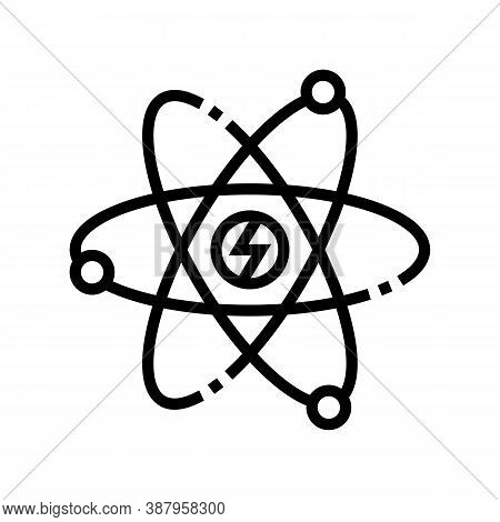 Atom Nuclear Energy Line Icon Vector. Atom Nuclear Energy Sign. Isolated Contour Symbol Black Illust