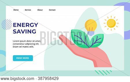 Energy Saving Hand Hold Leaf Light Bulb Campaign For Web Website Home Homepage Landing Page Template