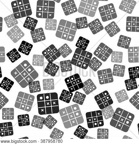 Black Tic Tac Toe Game Icon Isolated Seamless Pattern On White Background. Vector