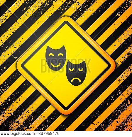Black Comedy And Tragedy Theatrical Masks Icon Isolated On Yellow Background. Warning Sign. Vector