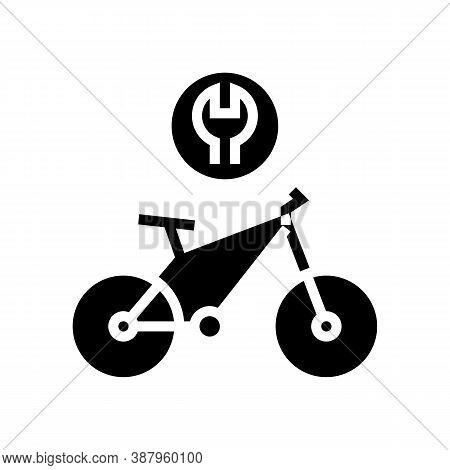 Complex Bike Repair Glyph Icon Vector. Complex Bike Repair Sign. Isolated Contour Symbol Black Illus